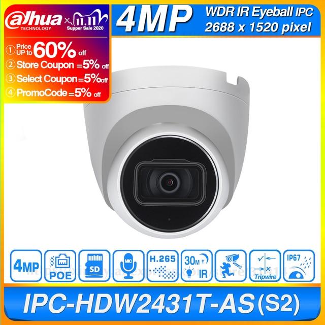 داهوا الأصلي IPC HDW2431T AS 4MP HD POE بنيت في هيئة التصنيع العسكري SD فتحة للبطاقات H.265 IP67 30M الأشعة تحت الحمراء ضوء النجوم IVS ترقية قبة كاميرا IP
