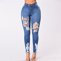 Fashion Jeans Large Size Women Denim Skinny Hole Ripped Jeans For Women Female High Waist Stretch Slim Sexy Pencil Pants E15