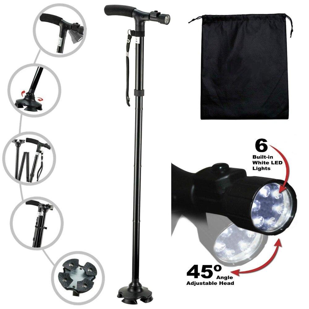 LED Light Walking Stick T-handle Walking Cane For Elderly People  Folding Trekking Hiking Poles Telescopic Pole Crutches