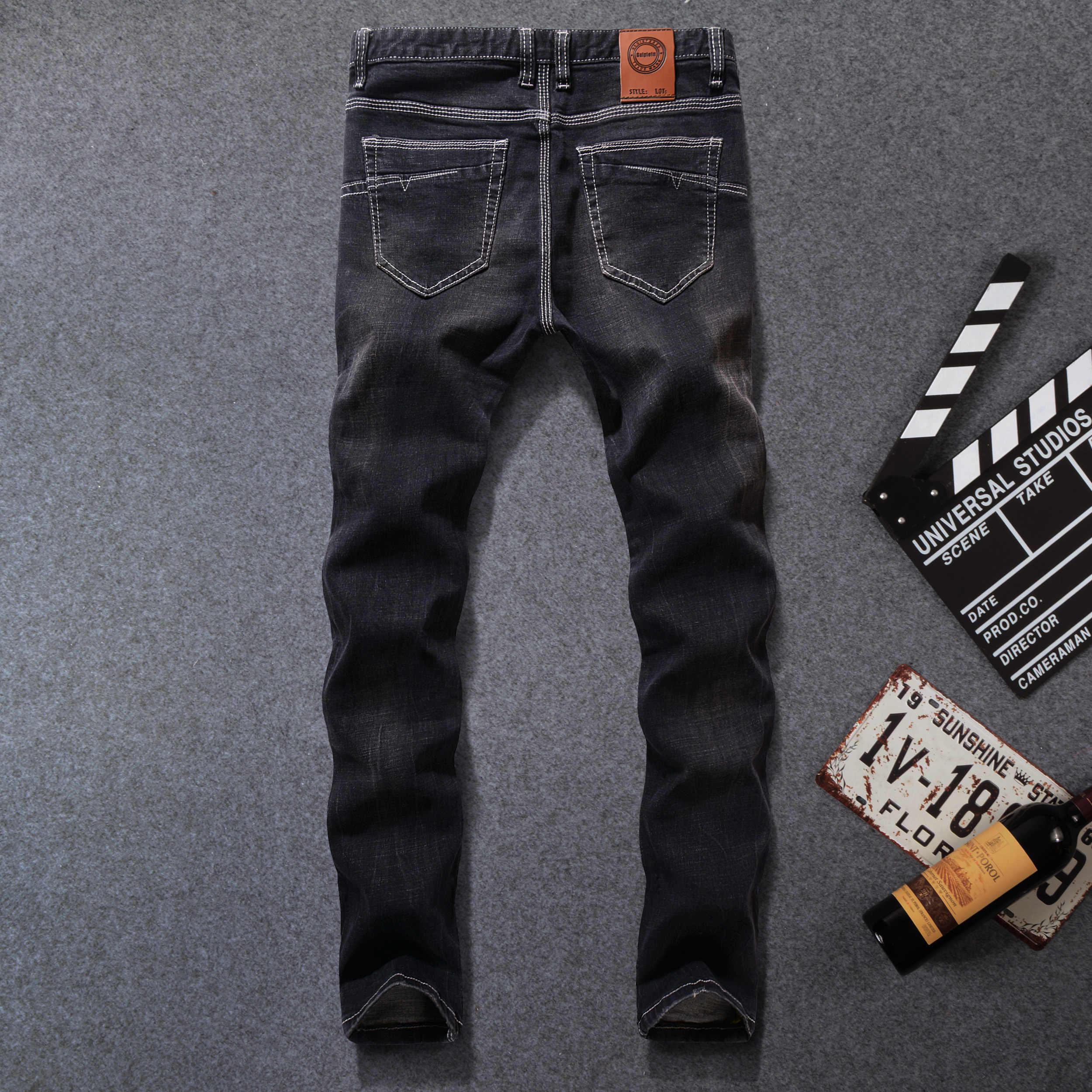 Color Negro Denim Con Franjas Vaqueros Pantalones Para Hombre Marca De Vaqueros Skinny Elastico Pantalones De Moda De Disenador De Los Hombres Pantalones Vaqueros De Talla Grande Stripe Jeans Men Brand Men Jeansdesigner Mens