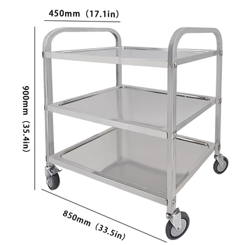 3 Tier Stainless Steel Trolley Cart Storage Trolley Bearing 100kg with PVC Wheels for Catering Hotel Restaurant