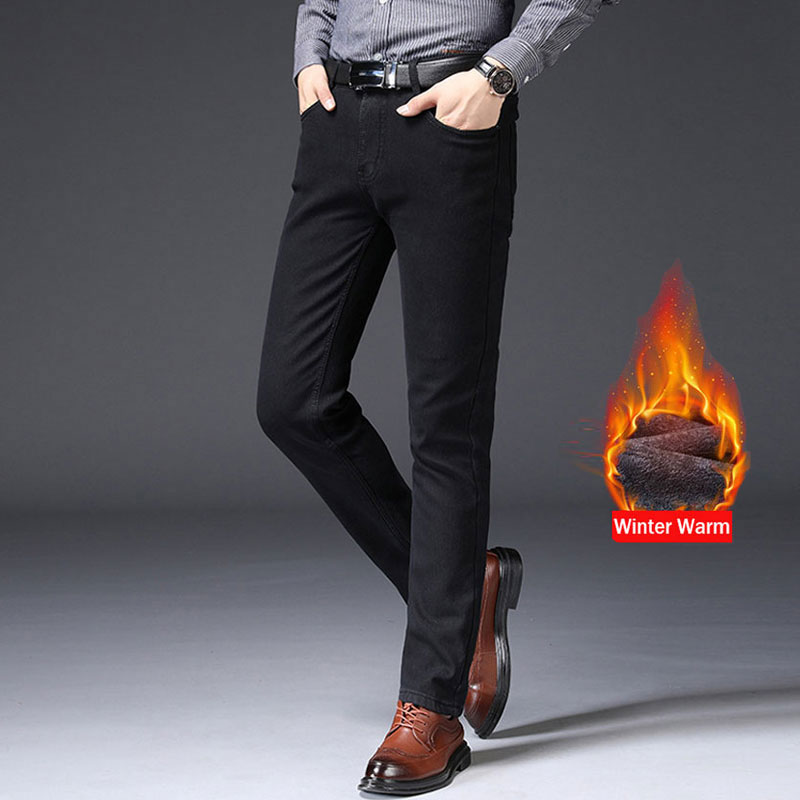Fashion Winter Men Jeans Black Color Slim Fit Elastic Thick Velvet Casual Business Pants Vintage Classical Warm Jeans Men