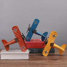 Vintage Aircraft Model Metal Crafts Miniatures European Glider Plane Figurines Creative Home Decoration Living Room Bedroom Gift