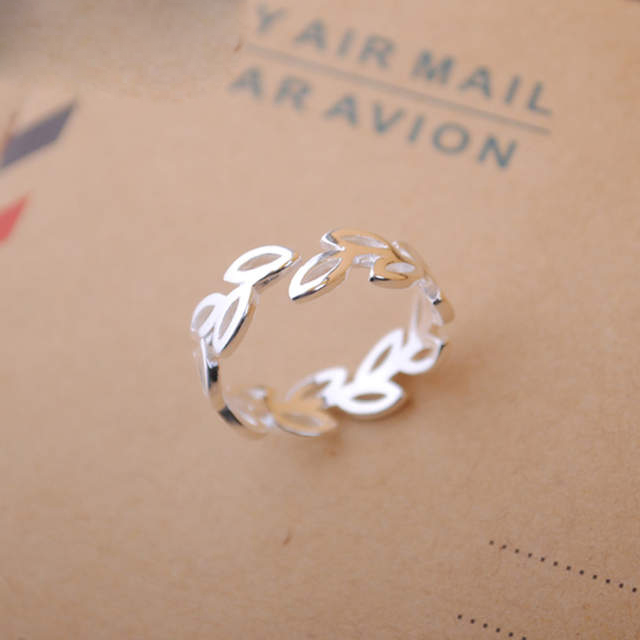 Bohemian Vintage 925 Sterling Silver Leaf Rings for Women Bijoux Gift Female Adjustable Size Finger Rings Anillos Wholesale(China)
