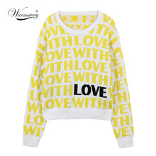 Thick Women Yellow Love Letter Jacquard Sweaters and Pullovers High Quality Knitted O-Neck Autumn Winter Sweet Top  C-434