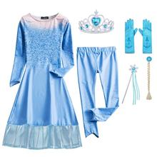 AmzBarley Newest Snow Queen 2 Elsa costume Toddler girls Princess Dress with Leggings Halloween Cosplay outfits clothes set