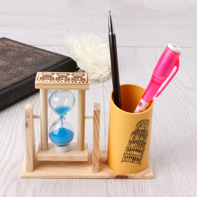 Timer Wood Pen Holder Office Desk Accessories With Hourglass Scrub Pencil Holder AXYF