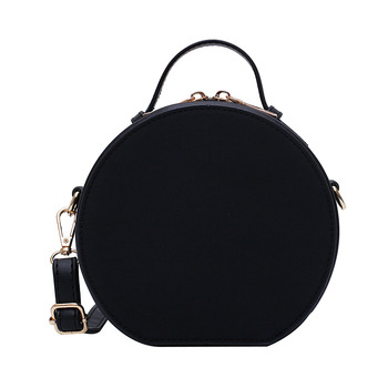Women Shoulder Bag Fashion Ladies Messenger Bags Youth  Waterproof Handbag Round Simple Female High Quality Pu Leather Bag Black 2018leather handbag fashion leather round bad bag chain shoulder scrub europe and the united states oblique messenger ladies bag