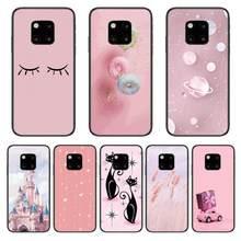 Castelo gato rosa caixa do telefone para huawei companheiro 30 10 20 40 lite inteligente z pro preto etui 3d coque pintura hoesjes caso
