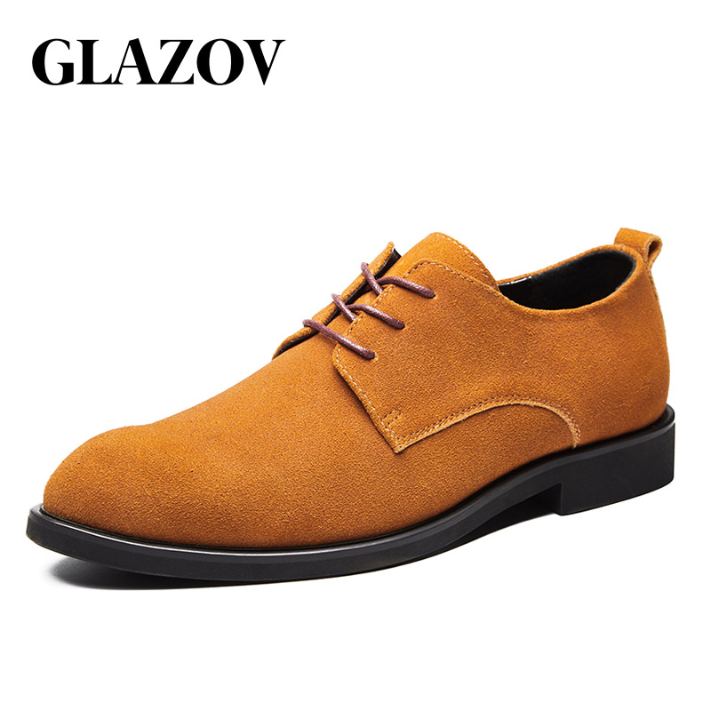 GLAZOV Brand 2019 Spring Suede Leather Men Shoes Oxford Casual Classic Sneakers For Male Comfortable Footwear Big Size 38-48