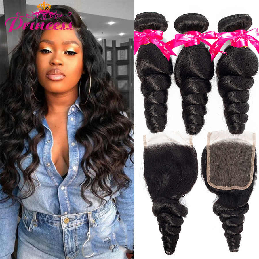 Beautiful Princess Loose Wave Bundles With Closure Brazilian Bundles With Closure Remy Human Hair 3 Bundles With Lace Closure