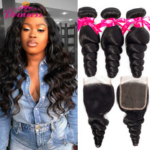 Loose-Wave-Bundles Closure Human-Hair Beautiful Princess with Remy