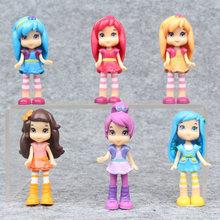 6 pçs lote 8cm polly pocket brinquedo boneca figura de ação morango princesa boneca bolo micro paisagem anime coleção brinquedos para crianças