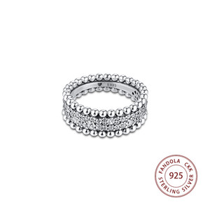 Image 3 - 2020 Valentines Beaded Pave Band Ring femme 925 Sterling Silver Clear CZ Wedding Rings for Women Fashion Jewelry anillos mujer