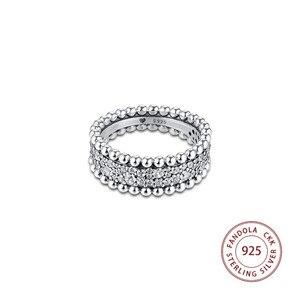 Image 3 - 2020 האהבה חרוזים פייב להקת טבעת femme 925 כסף נקה CZ טבעות נישואים לנשים תכשיטים anillos mujer