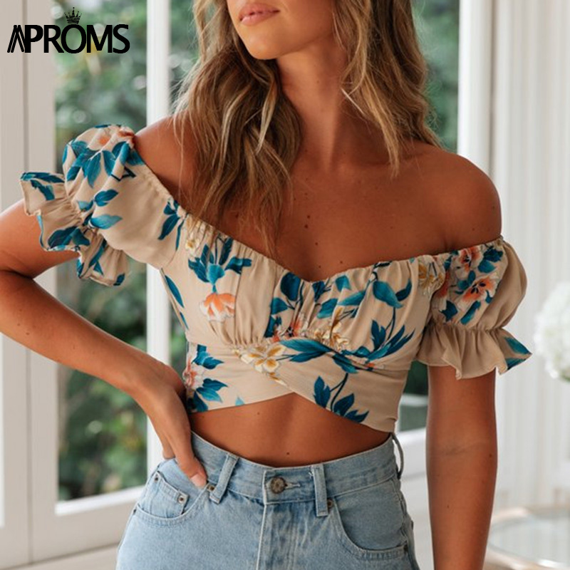 Aproms Bohemian Off Shoulder Floral Print Tank Tops Women Sexy Backless Wrap Tie Bow Crop Top Female Ruffle Tees 2020 NEW