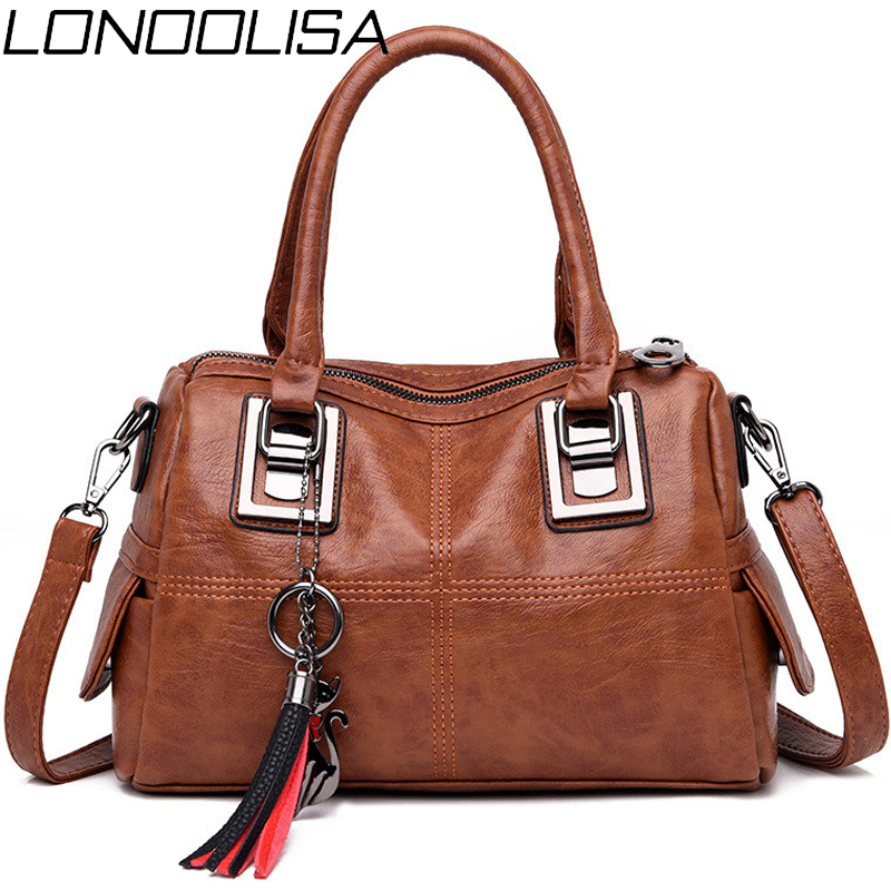 LONOOLISA Vintage Leather Tassel Ladies Hand Bags For Women 2019 Totes Luxury Handbags Designer Crossbody Bag Boston Sac a main