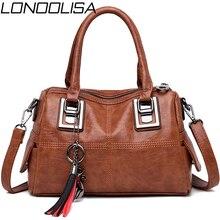 LONOOLISA Vintage Leather Tassel Ladies Hand Bags For Women