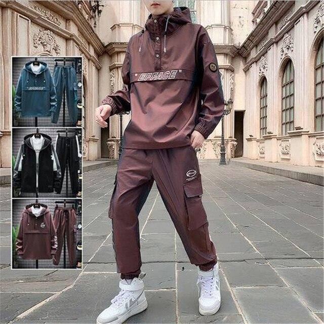 2021 Workwear jacket men's Hooded Jacket+Pants 2PC Sets  baseball  loose Pullover coat & Long Pants Mens Clothing 5