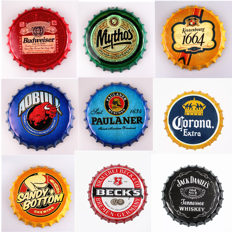 35cm Beer Cap Metal Tin Signs Plate Retro Cafe Bar Pub Wall Decor Plaque Vintage Round Home Art Poster Multi Size