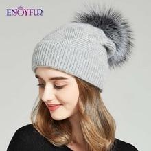 ENJOYFUR Winter Hüte Für Frauen Natürliche Fell Pompon hut Warme Wolle Slouchy Beanies Für Weibliche Mode Skullies Dame Hüte