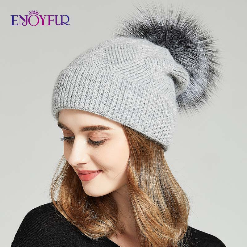 ENJOYFUR Winter Hats For Women Natural Fur Pompom Hat Warm Wool Slouchy Beanies For Female Fashion Skullies Lady Hats