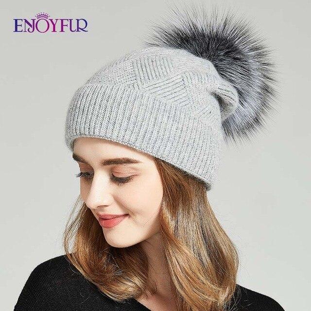 Enjoyfur冬の帽子毛皮pompom帽子暖かいウールだらしないビーニー女性のファッションskullies女性帽子