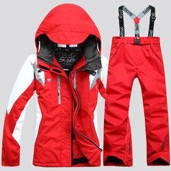 Chaquetas de Invierno para mujer con capucha a prueba de viento grueso abrigo cálido chaqueta de esquí y pantalón trajes de Snowboard conjunto de esquí femenino