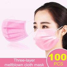 100 Uds rosa/azul/negro máscaras para el rostro boca Mascherine máscara Anti-gota Mascarillas De Proteccion desechables boca máscara