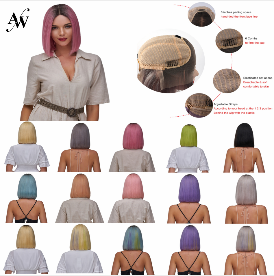 AW 12'' Straight Bob Half Lace Wig HD Transparent Pre Plucked Hairline Lace Front Remy Human Hair Wig For Women 150% Density