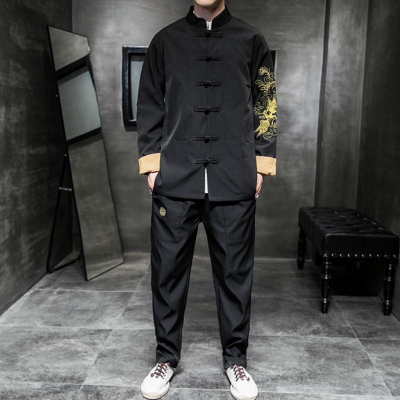 M-5XL Mandarin Collar Chinese Style Dragon Printed Man Clothes Set Long Sleeve Jacket+Pants 2 Piece Tracksuit Men Sets XXXXXL