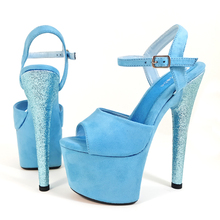 цена на Leecabe Pink/Blue Suede Covered high heel sandals sexy high heels sparkling glitter sexy pole dance shoes