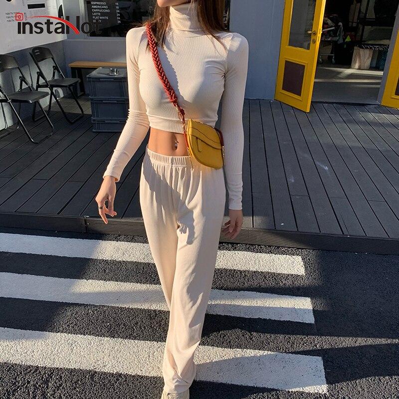 InstaHot breite bein hose und ernte top zwei stück set langarm herbst solide casial elegante rollkragen minimalistischen klassische outfit