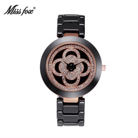 High quality flower pattern ceramic women's watch waterproof stainless steel drill face round diamond diamond table