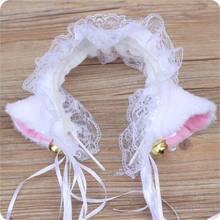 Gótico lolita maid gato orelha bandana macio fita headbands anime cosplay