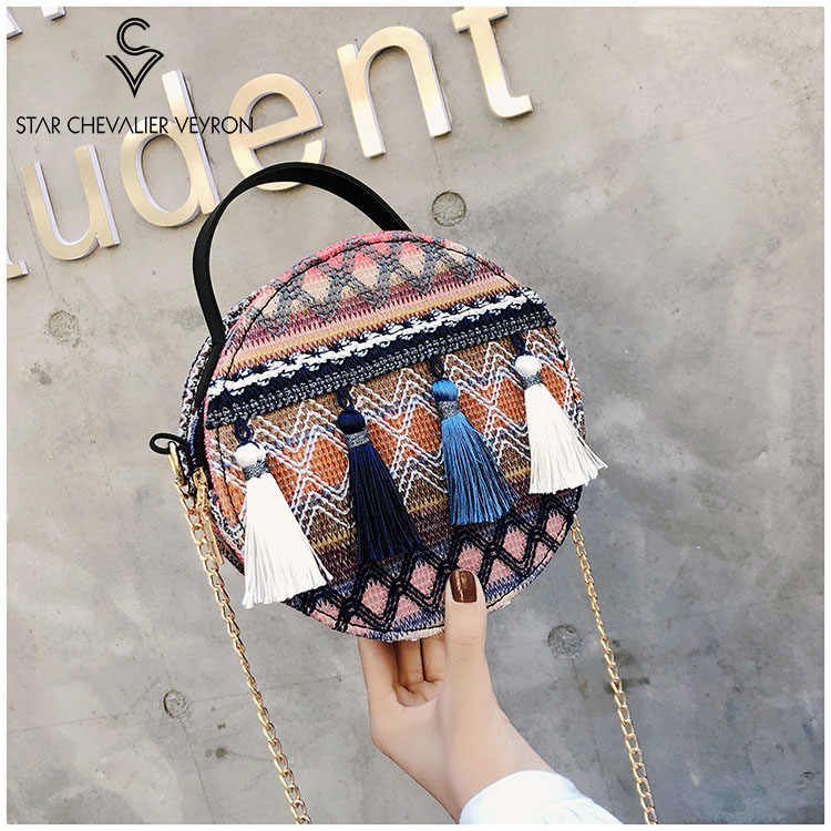 SCV2019 New Women's bag Korean Fashion tassels Small round bag Temperament National Style Shoulder bag Handbag Package Sling beg