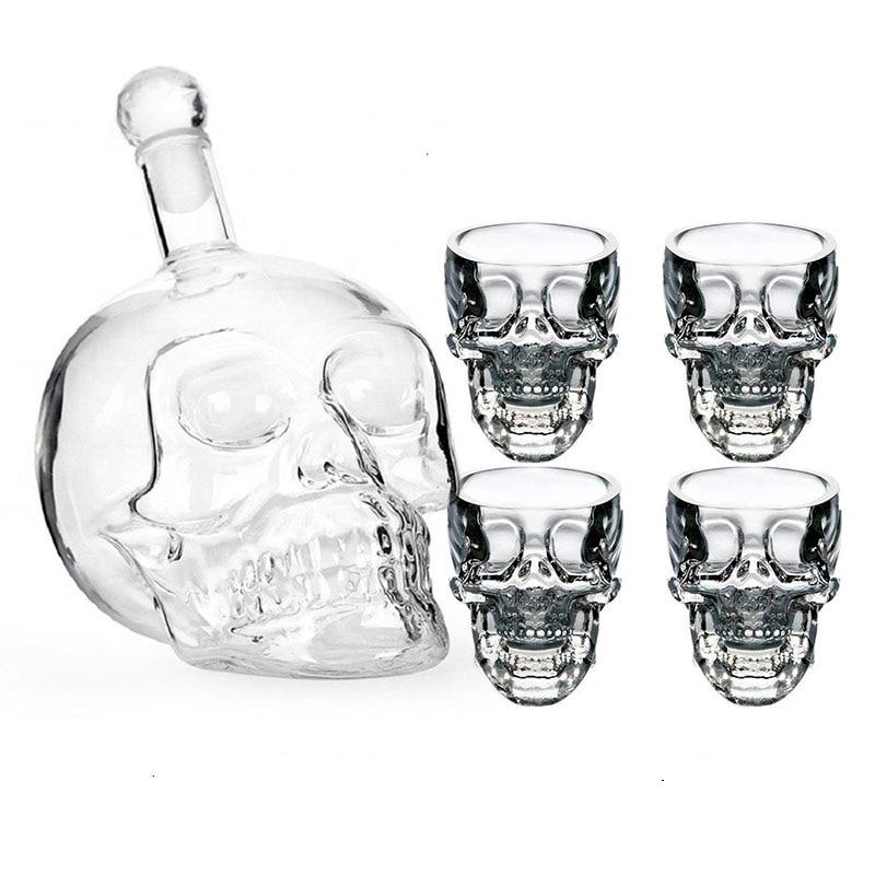Skull Bottle Glass Cup Set Crystal Skull Decanter Glasses Shot Glass Mug Wine Vodka Bottles Transparent Whiskey Cocktail Barware