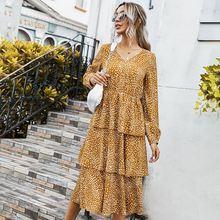 Винтажное платье с каскадными оборками и леопардовым принтом