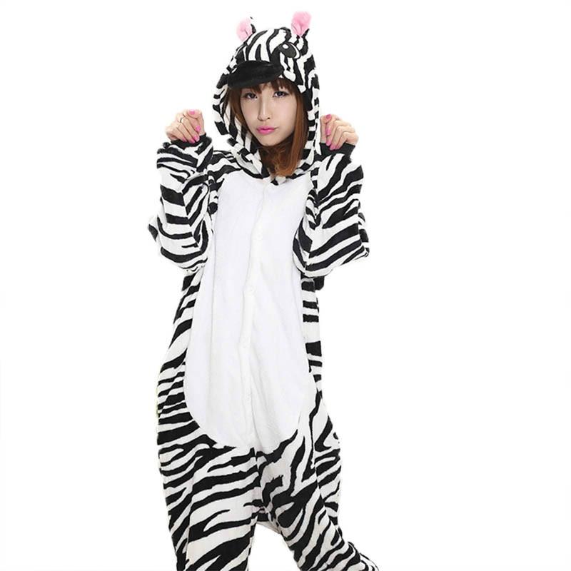 2019 Anime Kigurumi Zebra Onesie Adult Women Sleepwear Costume Animal Pajamas Flannel Winter Warm Loose Soft Cosplay Pyjama