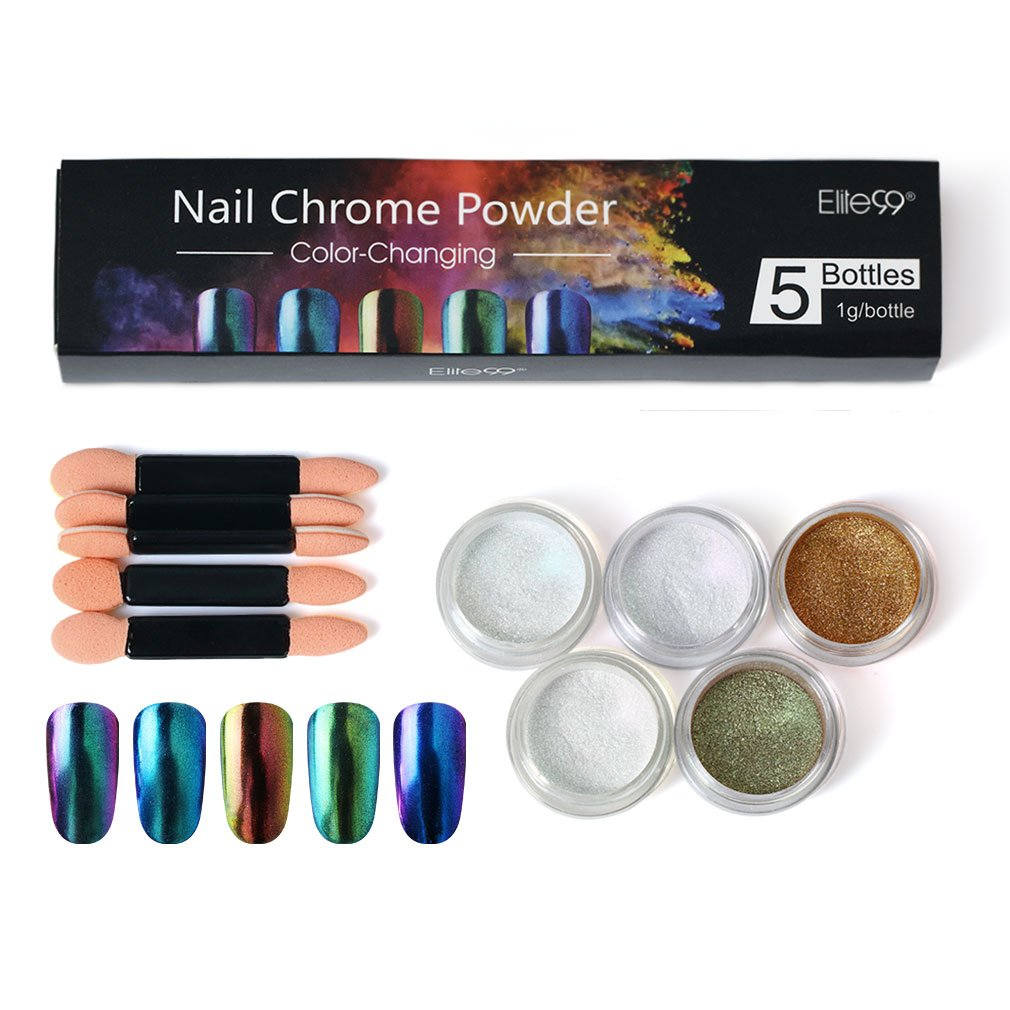Elite99 Chameleon Mirror Nail Glitters Shinning Powder With Brush Gorgeous Nail Art Chrome Pigment Manicure Dust Decorations