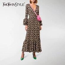 TWOTWINSTYLE, элегантное леопардовое платье для женщин, v-образный вырез, рукав-фонарик, высокая талия, платья для женщин, осень, негабаритные, модные, OL, новинка