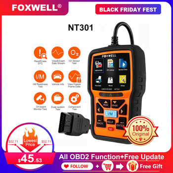 Foxwell NT301 OBD2 Scanner Professional Read Clear Code ODB 2 Automotivo Scanner Auto Car Diagnostic Tool with Full OBD Function launch x431 pro mini with bluetooth function full system 2 years free update online mini x 431 pro powerful auto diagnostic tool