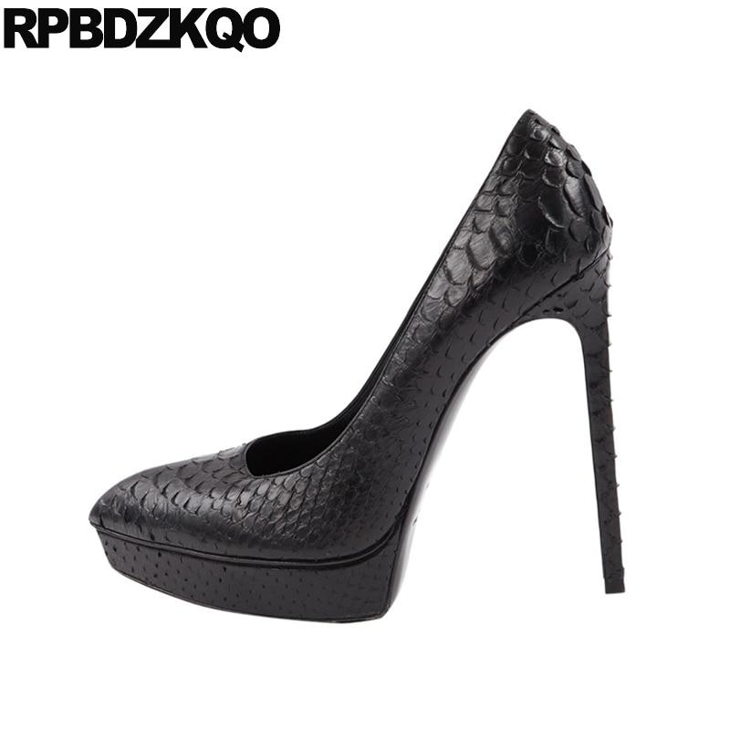 pointed toe thin fetish ladies pumps runway high heels snakeskin quality designer shoes super black stiletto slip on platform