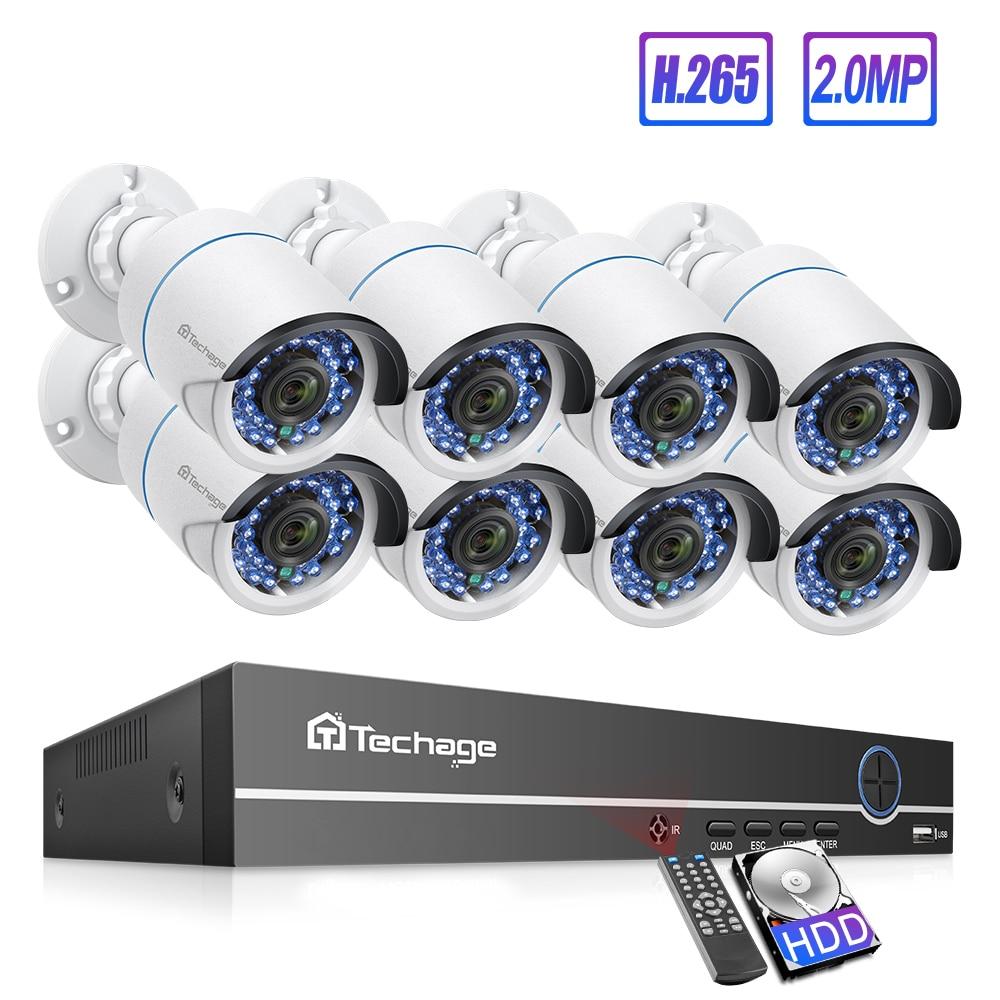 Techage 8CH 1080P POE IP Camera NVR System 2MP Audio Sound Record CCTV Video Security Surveillance Set IR Cut Night Version Home