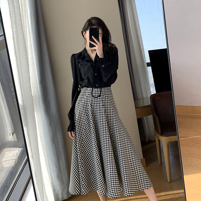 Black dress suit 2021 spring dress new style waist down show thin temperament goddess fan thousand bird lattice two piece set