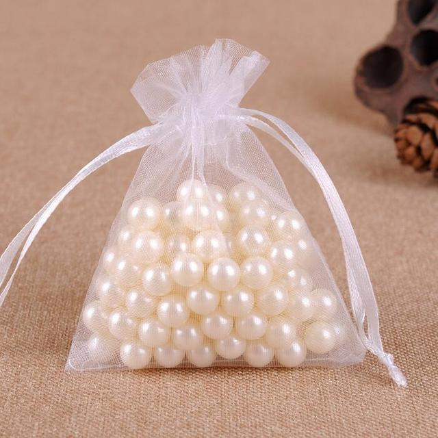 100pcs/lot 5x7 9x12 17x23 25x35 30x40 cm Big White Organza Bags Drawstring Pouch For Jewelry Beads Wedding Gift Packaging Bag 5