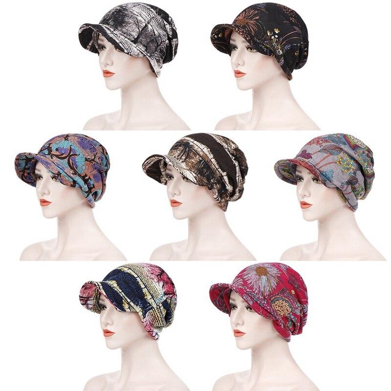 Multifunction Women Winter Autumn Cap Hat Floral Printed Teenager Adult Thin Scarf Girl Skullies Beanies Vintage Cap Hat