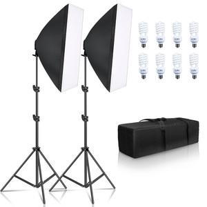 Image 1 - Fotoğraf Softbox aydınlatma kiti 8 adet E27 45W LED ampuller fotoğraf stüdyo ışığı ekipmanları ışık kutusu Youtube Video