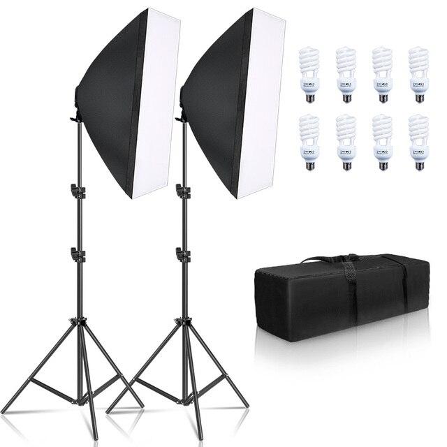 Fotoğraf Softbox aydınlatma kiti 8 adet E27 45W LED ampuller fotoğraf stüdyo ışığı ekipmanları ışık kutusu Youtube Video