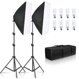Image 1 - Photography Softbox Lighting Kit 8 PCS E27 45W LED Bulbs Photo Studio Light Equipment Light Box For Youtube Video
